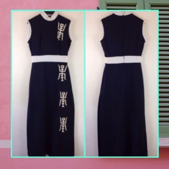 0b859c776 Vintage 60s Dress Asian Style Sleeveless Black M. M_5b17b24a2beb79a29e3a29a9